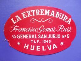 HOTEL RESIDENCIA PENSION EXTREMADUR ARACENA HUELVA SPAIN ETIQUETA LUGGAGE LABEL ETIQUETTE AUFKLEBER DECAL STICKER MADRID - Hotel Labels