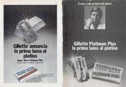 1970 -  Lametta GILLETTE  -   2  Pubblicità Cm. 13,5 X 18,5 - Lames De Rasoir