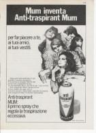1970 - MUM Anti Traspirant -   1  Pubblicità Cm. 13,5 X 18,5 - Magazines