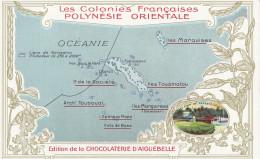 CPA - Carte De L´Archipel - Edition De La Chocolaterie D´Aiguebelle - Polynésie Française