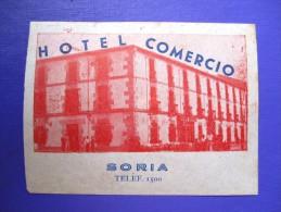 HOTEL RESIDENCIA PENSION COMERCIO SORIA SPAIN ETIQUETA LUGGAGE LABEL ETIQUETTE AUFKLEBER DECAL STICKER MADRID - Hotel Labels