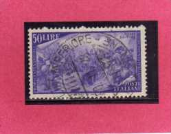 ITALIA REPUBBLICA ITALY REPUBLIC 1948 RISORGIMENTO LIRE 50 USATO USED OBLITERE´ - 1946-60: Gebraucht