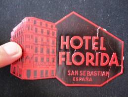 HOTEL RESIDENCIA PENSION FLORIDA SAN SEBASTIAN SPAIN TAG LUGGAGE LABEL ETIQUETTE AUFKLEBER DECAL STICKER MADRID - Hotel Labels