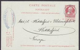 Belgium Postal Stationery Ganzsache Entier 10 C Leopold II. HUVENEERS, NOKIN & Co., 1908 To FLEKKEFJORD Norway (2 Scans) - Postcards [1871-09]