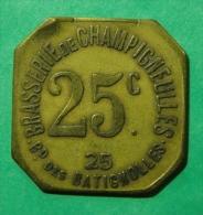 Brasserie De Champigneulles Bd Des Batignolles (Paris) - 25c - Monetari / Di Necessità