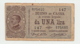 "Italy 1 Lira 1914 ""F"" Banknote Pick 36a 36 A - [ 1] …-1946 : Koninkrijk"