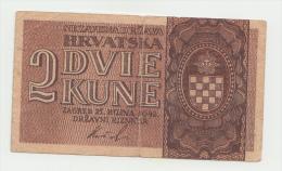 Croatia 2 Kuna (Kune) 1942 VF Banknote Pick 8 - Croatia