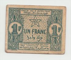 Morocco 1 Franc 1944 VF+ Pick 42 - Maroc