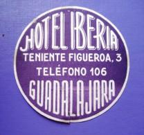 HOTEL RESIDENCIA PENSION IBERIA GUADALAJARA SPAIN TAG LUGGAGE LABEL ETIQUETTE AUFKLEBER DECAL STICKER MADRID - Hotel Labels