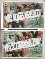 Lot 2x Photo MONTAGE Art Nouveau Style Bonjour De  Fete + Anniversaire Femme Medaillon 2x Decor Litho Fleurs - Souvenir De...