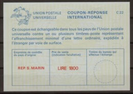 SAN MARINO International Reply Coupon Reponse Antwortschein IAS IRC  La25E  Large LIRE 1800 Mint Without Date Stamp - Interi Postali