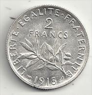 France 2 francs 1915 semeuse  argent  superbe