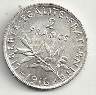France 2 francs 1916 semeuse  argent superbe