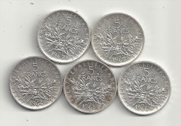 Lot De 5 Pièces 5 Francs  Semeuse  1964  1965  1966 1967  1969  Superbes - France