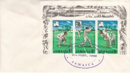 Jamaica FDC Scott #268a Strip Of 3 Cricket Players - Jamaique (1962-...)