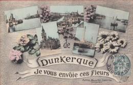 Carte Postale De 1906   -  Nord  -      '' Je Vous Envoie Ces Fleurs De Dunkerque '' - Gruss Aus.../ Grüsse Aus...