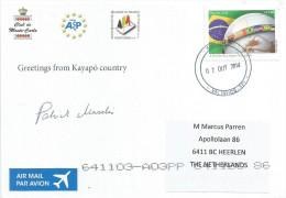 Brasil Brazil 2014 Valinhos Purtugese Language Flag Kayapo Indians Viewcard - Brazilië