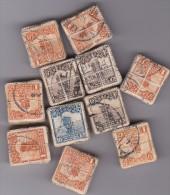 CHINE 11 bottes de timbres oblit�r�s