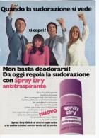 1970 -  Deodorante SRAY DRY GILLETTE     -   1  Pubblicità Cm. 13,5 X 18,5 - Riviste