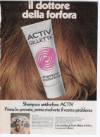 1970 -  Shampoo Antiforfora ACTIV  GILLETTE   -   1  Pubblicità Cm. 13,5 X 18,5 - Magazines