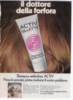 1970 -  Shampoo Antiforfora ACTIV  GILLETTE   -   1  Pubblicità Cm. 13,5 X 18,5 - Tijdschriften
