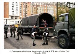 Transport Des Voyageurs Par L'armée Pendant La Grève Du RER, Porte D'Orléans, Paris, 03 Décembre 1988 - 500ex - Grèves