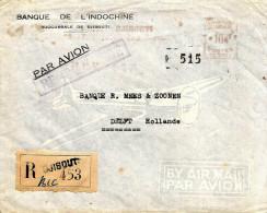 "Cote Francaise Des Somalis1958 Djibouti Meter Franking Satas ""SC"" 2054 EMA Registered Cover - Lettres & Documents"