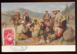 CARTE MAXIMUM CM Card USSR RUSSIA Art Painting  Kyrgistan Children Ethnic Horse - 1923-1991 URSS