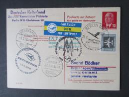 DDR 1959 GA Mit Antwortkarte. Luftpost. Interflug Leipzig - Kopenhagen. Deutscher Kulturbund - Postkarten - Gebraucht