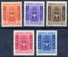 ALBANIA  1940 Postage Due Set Of 5 LHM / *.  Michel Porto 35-39 - Albania