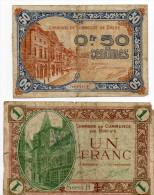 18 - Brive -  1 Billets De 50 Centimes Et 1 D´ 1franc 1924 - Chamber Of Commerce
