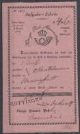 Aufgabe-Schein Königl. Hannov. Post 22.12.1849 Göttingen - Hannover