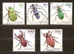 Allemagne Deutschland Bund 1993 Yvertn° 1497-1501 (°) Used Cote 15,00 Euro Faune Insectes - [7] République Fédérale