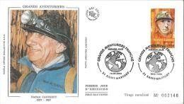 Enveloppe FDC Soie - Grands Aventuriers - Norbert Casteret - Saint Martory - 2000 - FDC