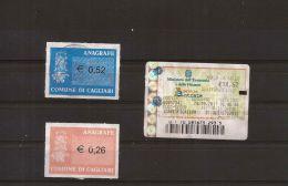 COMUNE CAGLIARI 2 MARCHE ANAGRAFE + MARCA BOLLO € 14,62 - Erinnophilie