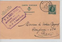 Entier 35c Houyoux C.Stekene En 1930 + C.Publicitaire W.de Kesel-Staal Bières&vins V.Gand PR1310 - Stamped Stationery