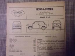 Fiche Technique Voiture  Honda N 360 - Old Paper
