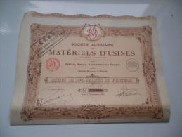 S.A.M.U. Auxiliaire De Materiels D'usines (capital 1 Million) 1922 - Aandelen