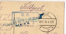 Guerre 14-18--1917--cachet Militaire Et Griffe De METZ Censure ? Sur Carte Postale De Sedan-08--cachet Allement Feldpost - Marcophilie (Lettres)