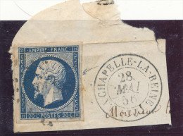 N°14 BLEU NOIR SUR FRAGMENT CACHET A DATE BELLE FRAPPE. - 1853-1860 Napoleon III