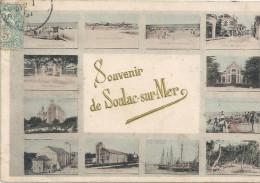 SOULAC SUR MER - 33 -   CPA COLORISEE  - SOUVENIR De SOULAC - 12 Vues Sur La Ville  -  ENCH - - Soulac-sur-Mer