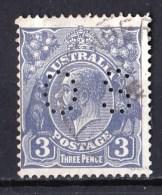 Australia 1929 King George V 3d Deep Ultramarine Small Multi Wmk P13.5 Perf OS Used