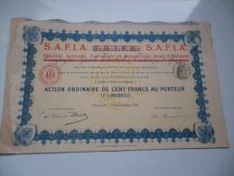 S.A.F.I.A. Agricole,forestiere Pour L'afrique (1911) - Actions & Titres