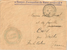 Troupes Occupation Du Maroc Occidental 1913 - Covers & Documents