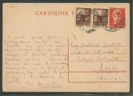 INTERO POSTALE DA SORIANO  A ANZIO - 7.3.1947. - 6. 1946-.. Republic
