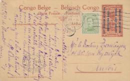 951/22 -  Entier Illustré Est Africain Vue Gare De KIGOMA + TP Petit Albert Utilisé à BRUXELLES Nord En 1919 Vers ANVERS - Entiers Postaux