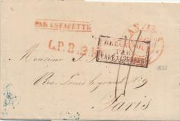 960/22 -  Lettre Précurseur ANVERS 1833 Vers PARIS - PAR ESTAFETTE - LPB2R Et Taxation 11 Décimes - 1830-1849 (Belgique Indépendante)