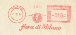EMA Italie Francotyp Type A De 1961 Avec Pub Illustrée Mercure - Dieu Du Commerce - Foire De Milan - Mythologie