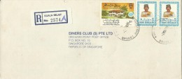Brunei 1988 Registered Cover From Kuala Belait  To Singapore, Pair 40sen  And $ 1.00 Homeless - Brunei (1984-...)