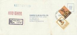 Brunei 1989 Registered Cover From Kuala Belait  To Singapore, 20 Sen And $ 1.00 - Brunei (1984-...)